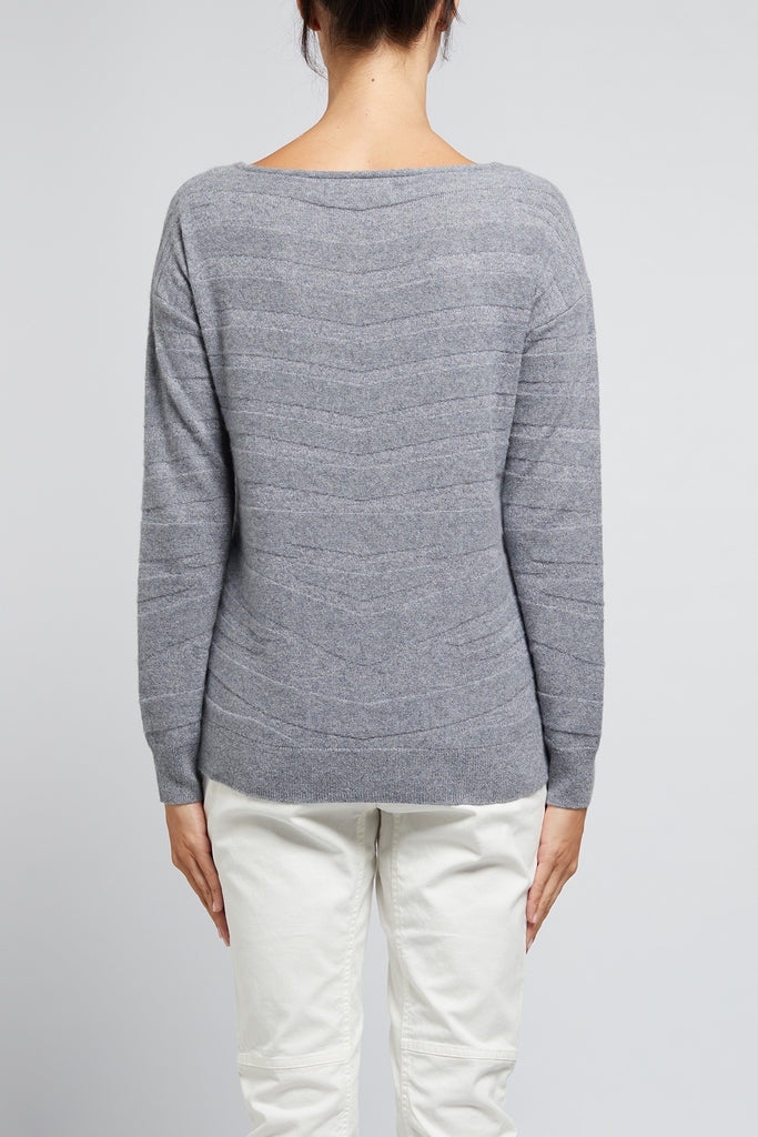 Cable Cashmere Wave Jumper - Silver Lurex