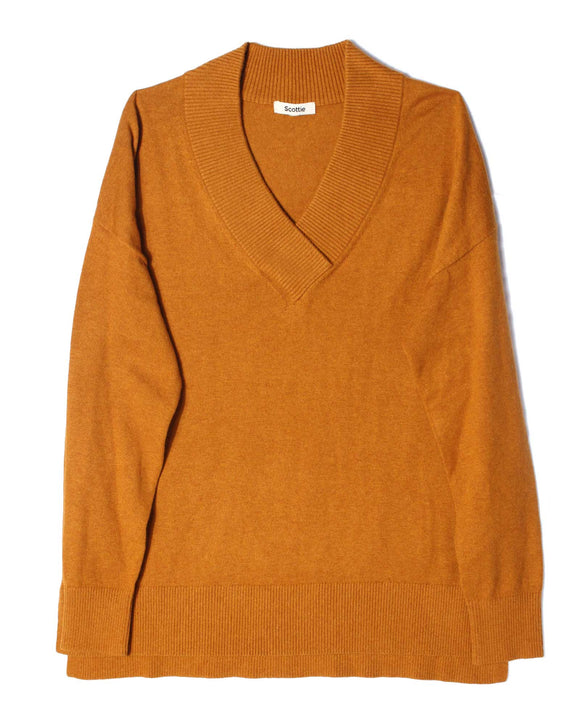 Chunky V-Neck Sweater - Gingernut