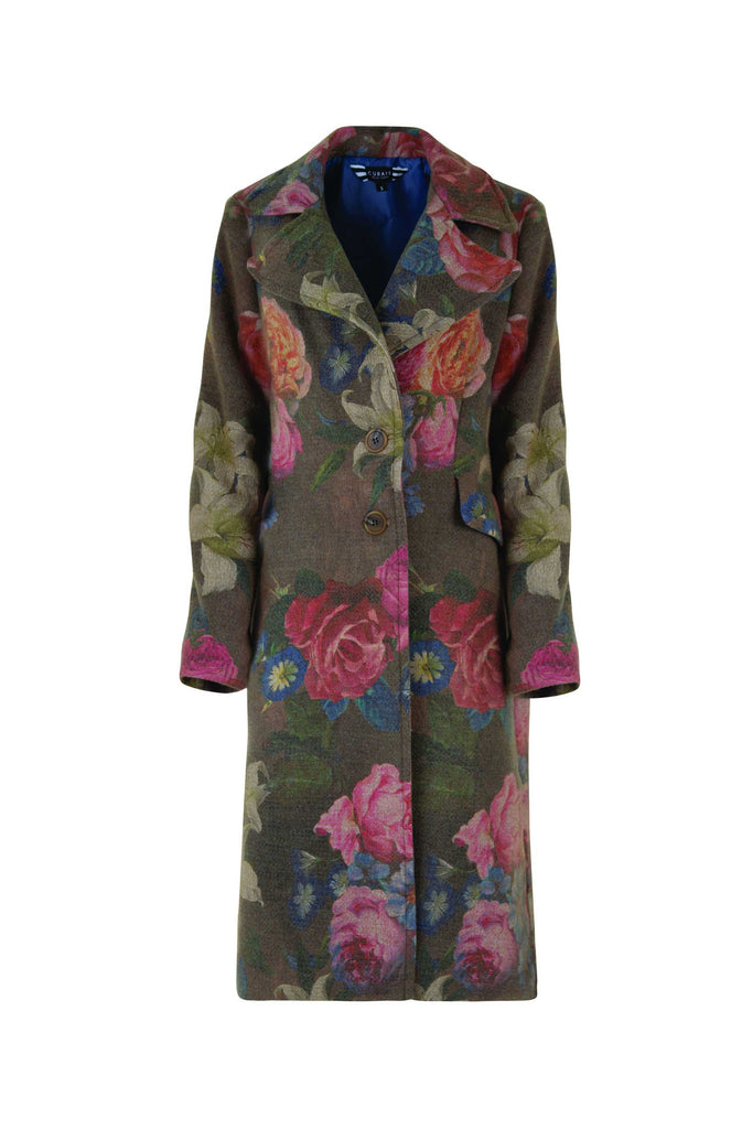 Curate Button Up Coat - Floral