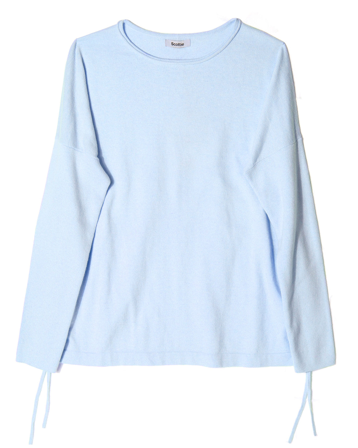 Cropped Jumper with Side Ties - Blue Flax