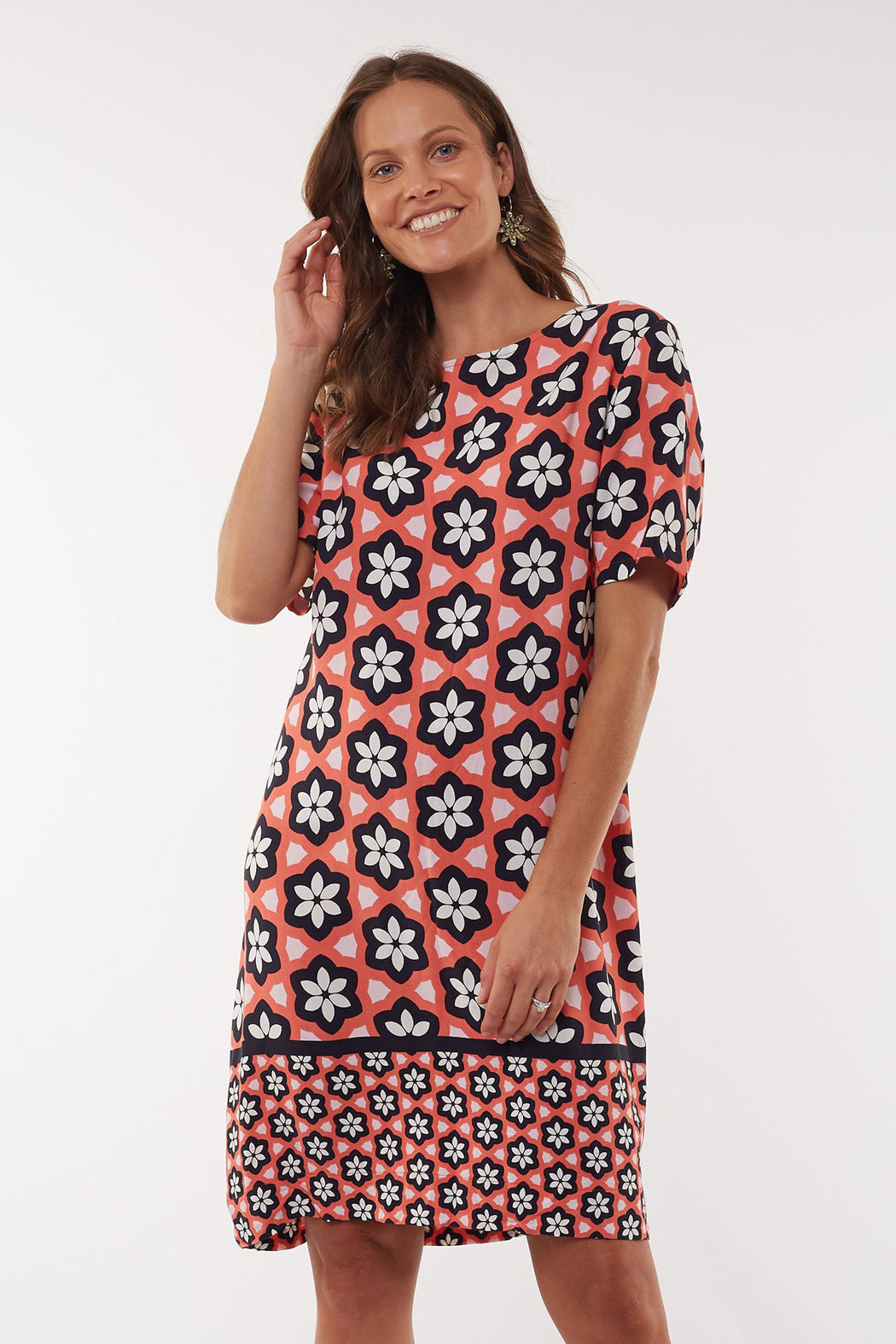 Elm Geo Floral Shift Dress - Melon | Shop Elm at Wallace & Gibbs NZ