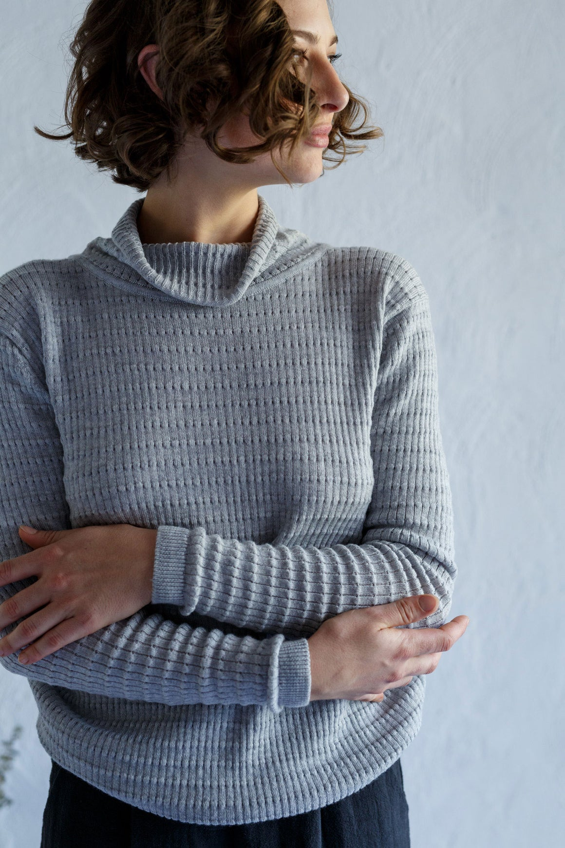 Funnel Knit Silver Melange | Buy Kristin Magrit in NZ at Wallace and Gibbs