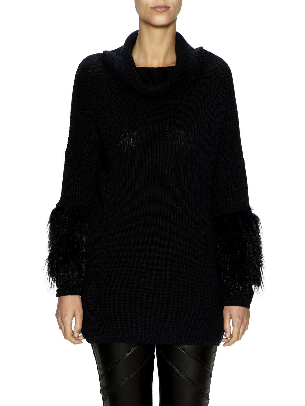 Sabatini Jumper with Faux Fur Sleeve - Black