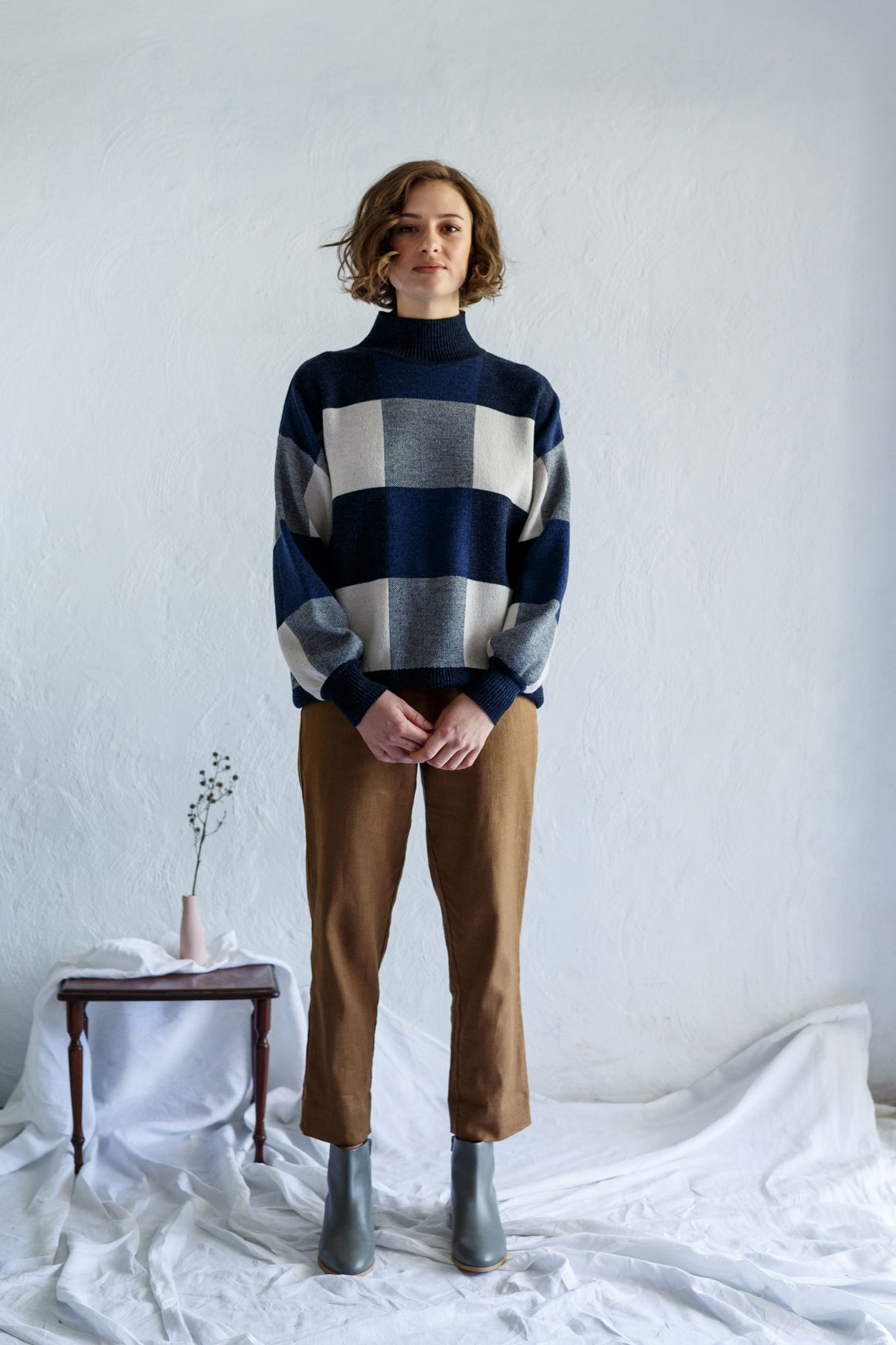 Giant Check Sweater Shibori | Shop Kristin Magrit clothing in NZ