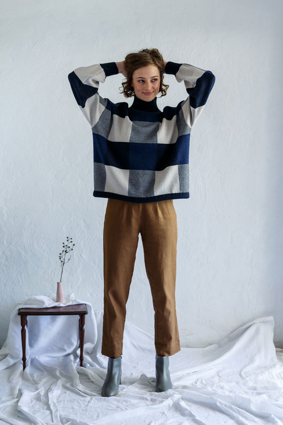 Giant Check Sweater Shibori | Buy Kristin Magrit in NZ at Wallace and Gibbs