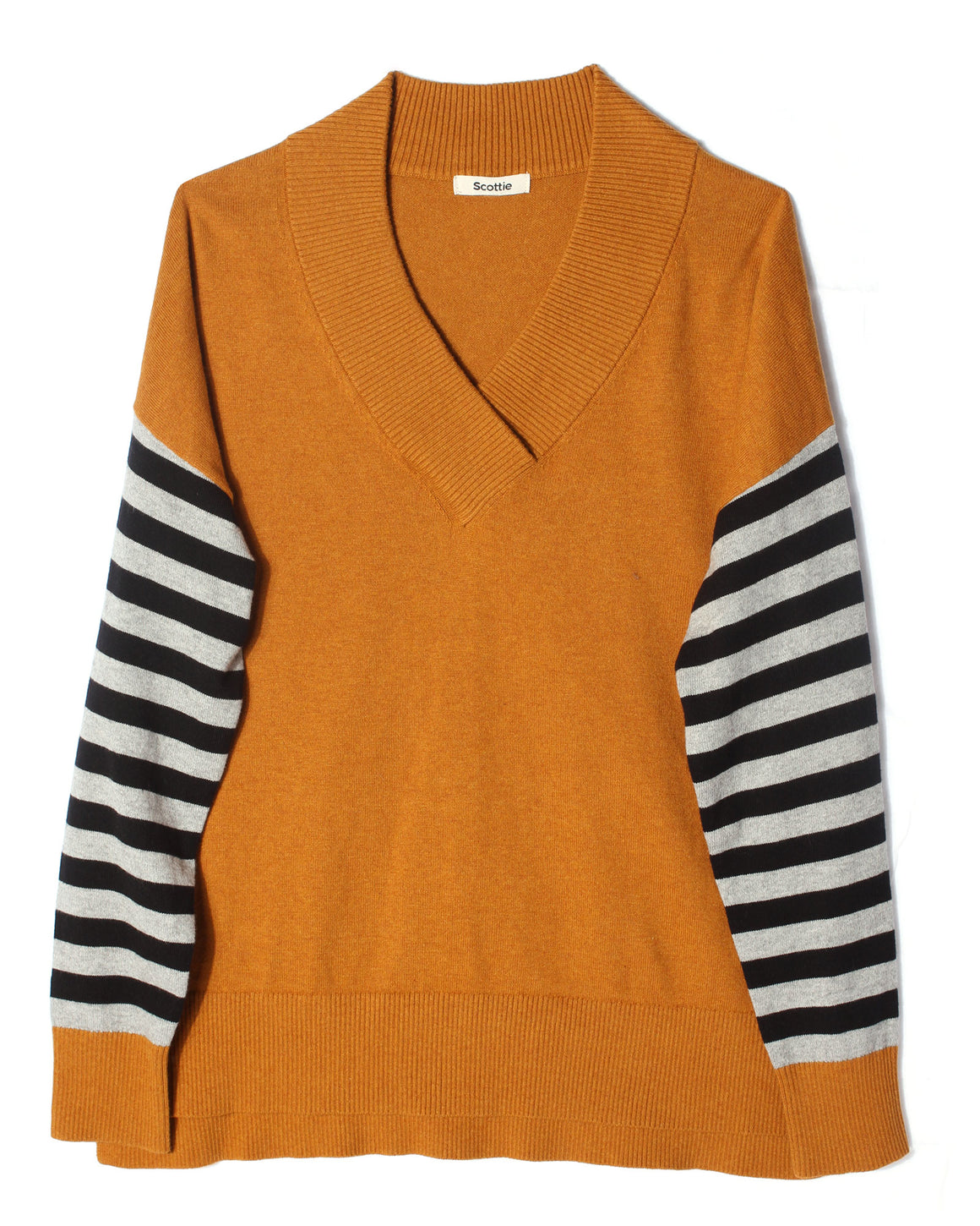 V-Neck Sweater Striped Sleeve - Gingernut