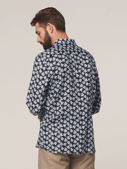 Mens L/S Linen Shirt -Dark Navy | Shop Dstrezzed at Wallace and Gibbs