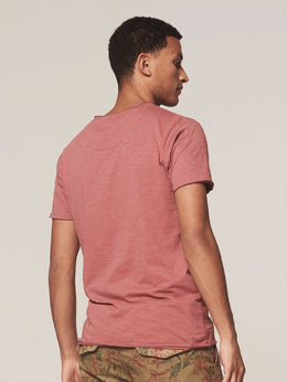 Mens Stewart V Neck Tshirt - Old Pink