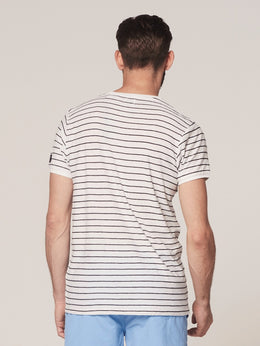 Mens Striped T-Shirt - White | Shop Dstrezzed at Wallace and Gibbs
