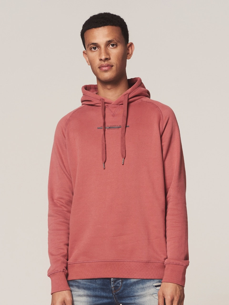 Mens Sweat Hoody - Old Pink | Shop Dstrezzed at Wallace and Gibbs