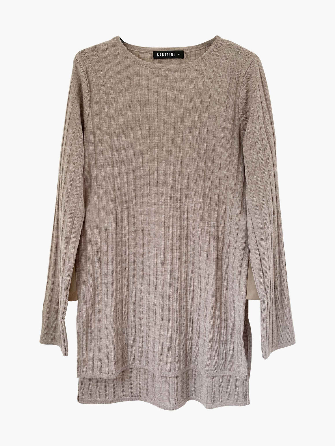 Sabatini Jumper with Leather Side Panels - Latte