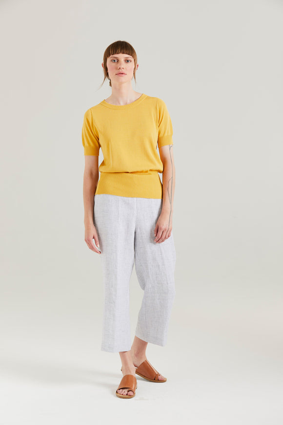 Standard Issue Linen Cropped Pant White