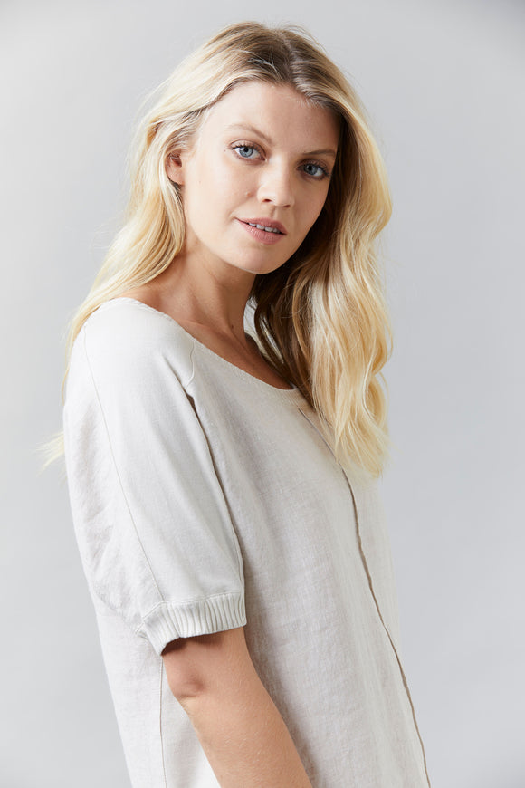 Visage Washed Linen Top With Knit