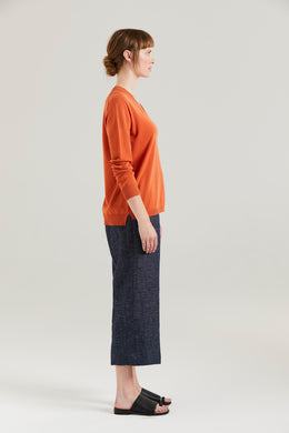 Standard Issue Ripple Trim V Sweater Paprika