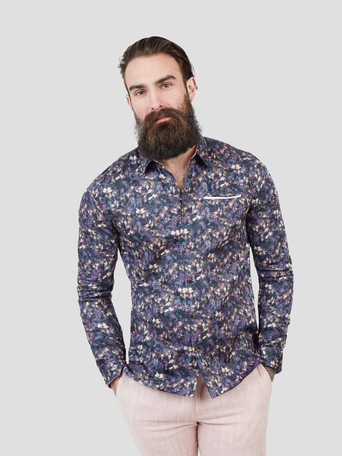 Mens Maroc Shirt - Purple | Shop Pearly King at Wallace and Gibbs NZ