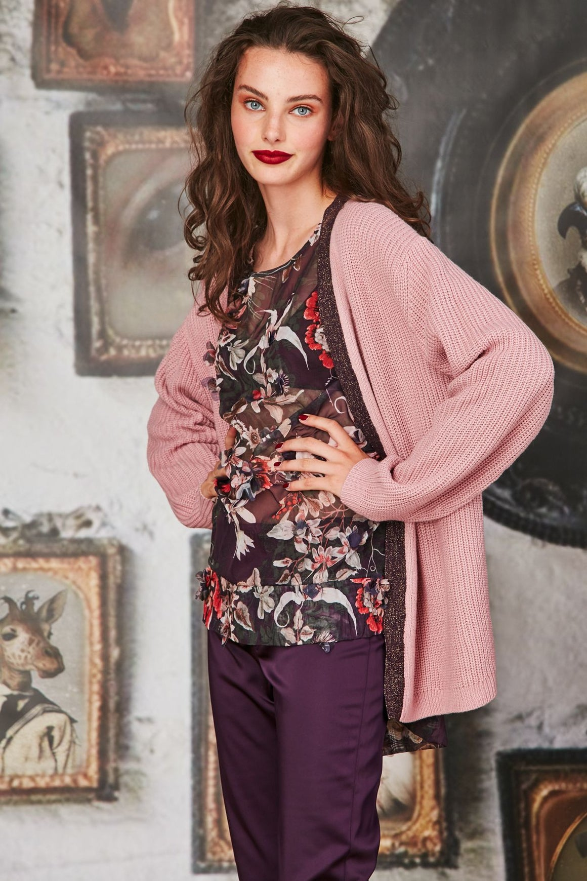 Curate Cardi Hearted Cardigan Pink | Shop Curate at Wallace & Gibbs