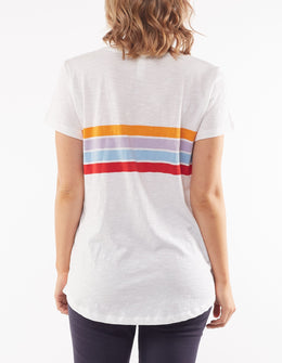 Elm Balmy Stripe SS Tee - White | Shop Elm at Wallace & Gibbs NZ
