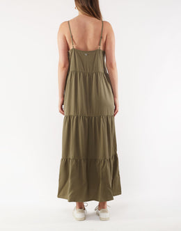 Foxwood Miracle Midi Dress - Khaki | Shop Foxwood Wallace & Gibbs NZ