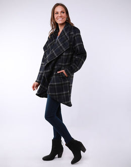 Elm Charlie Check Coat - Blue/Grey Check | Shop Elm at Wallace & Gibbs NZ