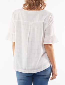 Elm Emilia Check Top - White | Shop Elm at Wallace & Gibbs NZ