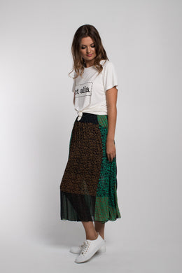 Et Alia Patchwork Skirt -Brooklyn Print | Shop at Wallace and Gibbs NZ