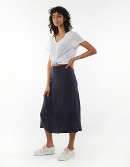 Elm Courtney Midi Skirt - Navy | Shop Elm at Wallace & Gibbs NZ