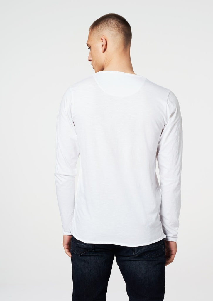 Mens Round Neck Slub Long Sleeve- White