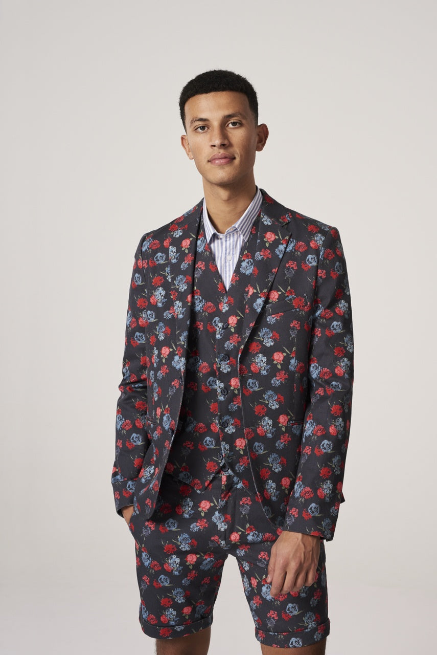 Mens Photo Flower 2-Tone Blazer