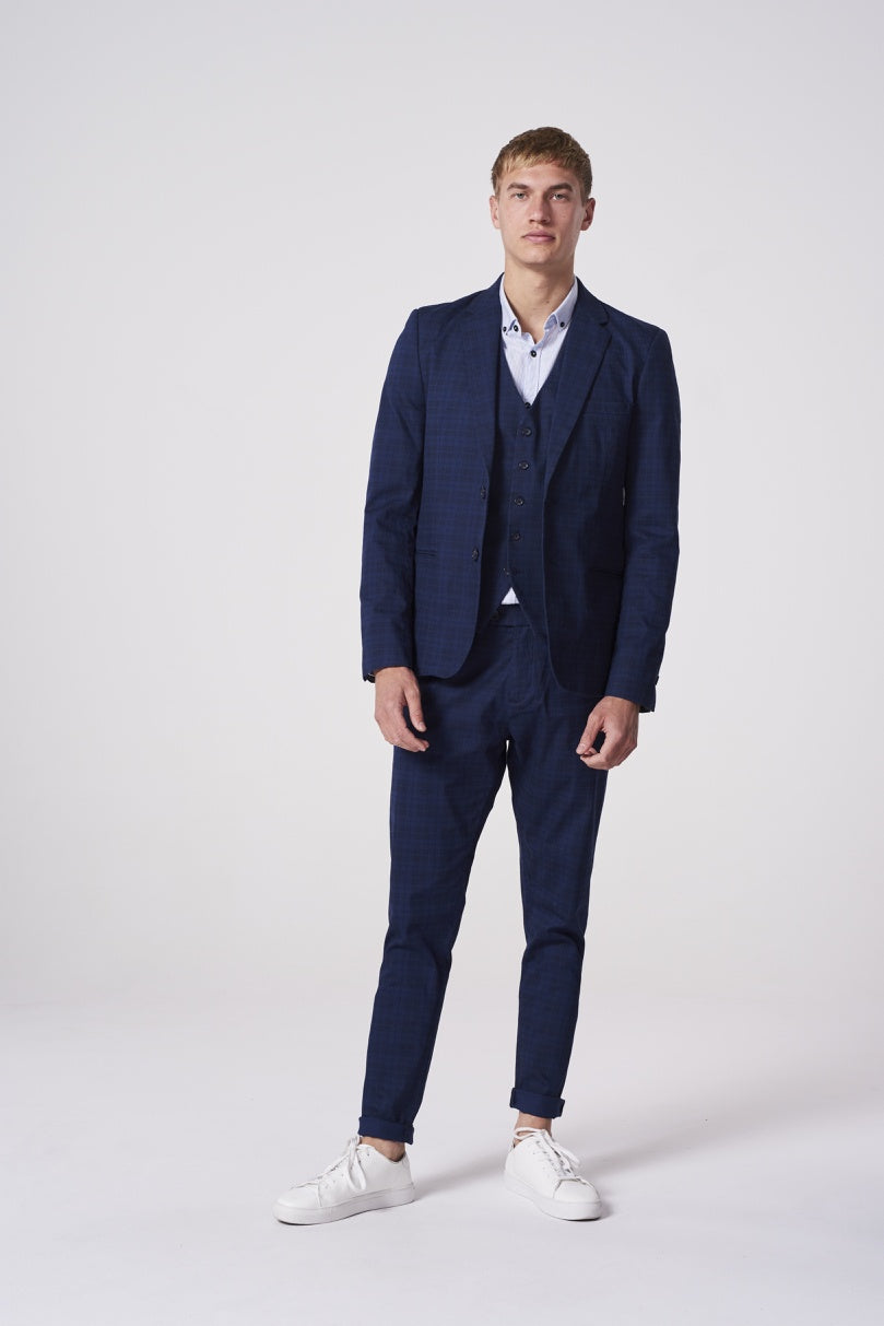 Mens Blue Check Blazer - Navy