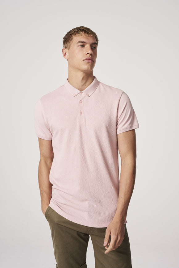 Mens Honeycomb S/S Polo - Light Pink