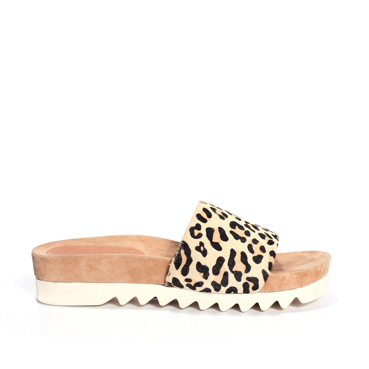 Rollie Sandal Slide Tooth Wedge - Camel/Leopard