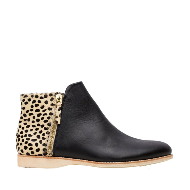 Rollie Side Zip Boot -Black Cheetah | Shop Rollie at Wallace and Gibbs