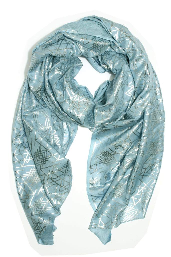 Geometric Scarf - Blue and silver