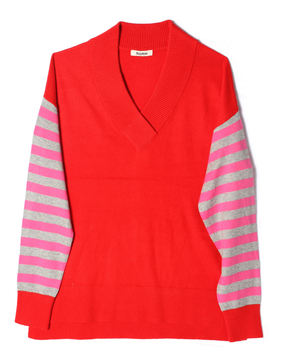 V-Neck Sweater Striped Sleeve - Red
