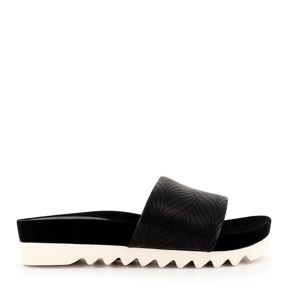 Sandal Slide Tooth Wedge - Embossed Black Leaf
