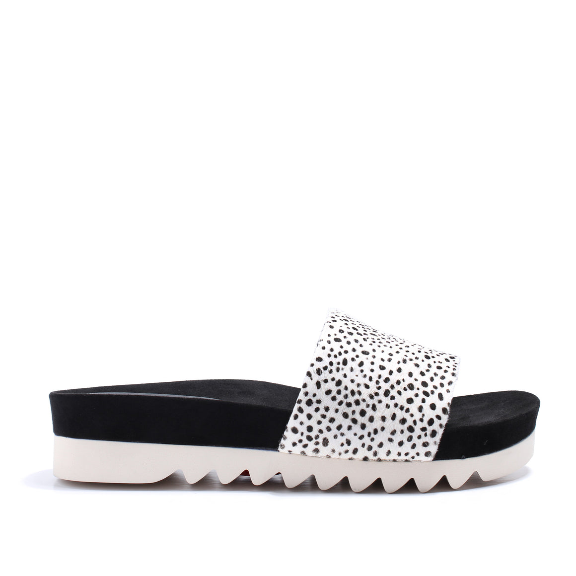 Rollie Sandal Slide Tooth Wedge - Snow Leopard