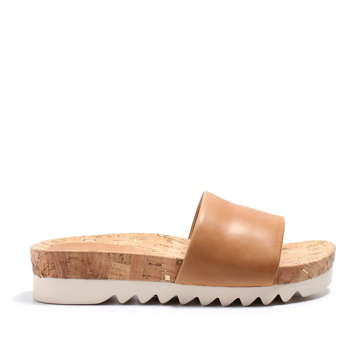 Rollie Sandal Slide Tooth Wedge - Tan with Cork