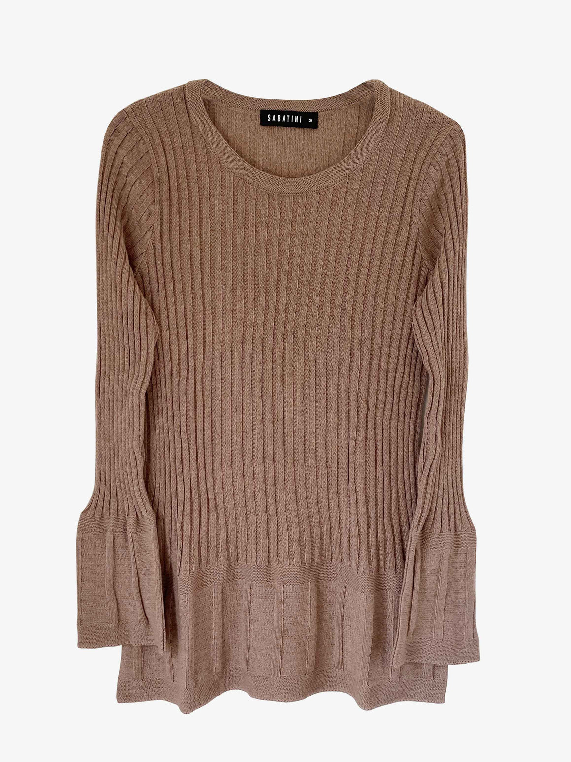 Sabatini Plated Twotone Knit Top - Nougat