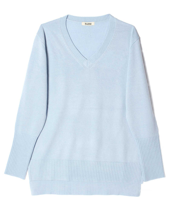 Merino V-Neck Sweater - Powder Blue