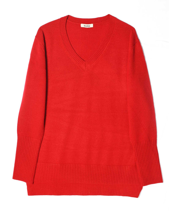 Merino V-Neck Sweater - Red