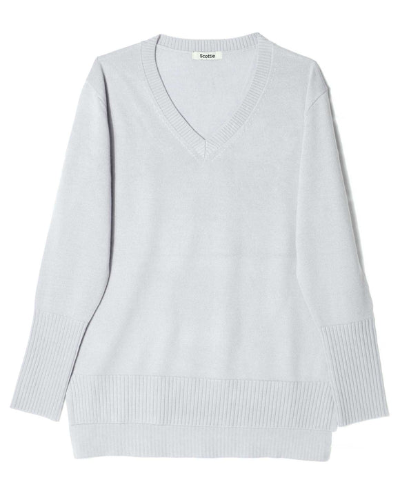Merino V-Neck Sweater - Silver Grey