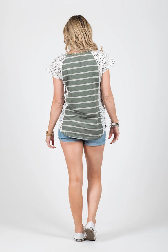 Wallace Top Olive Stripe