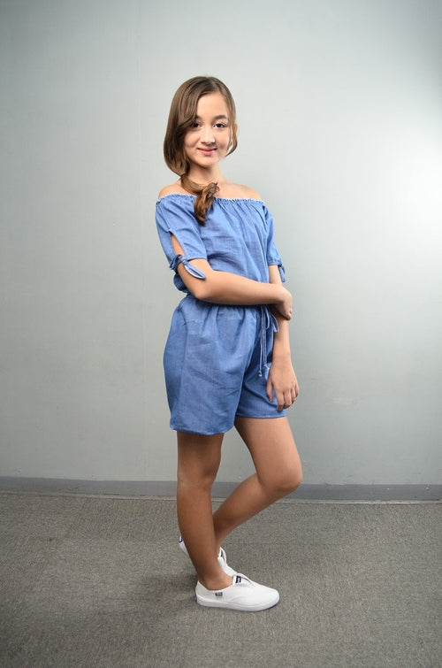Offshoulder Denim Romper