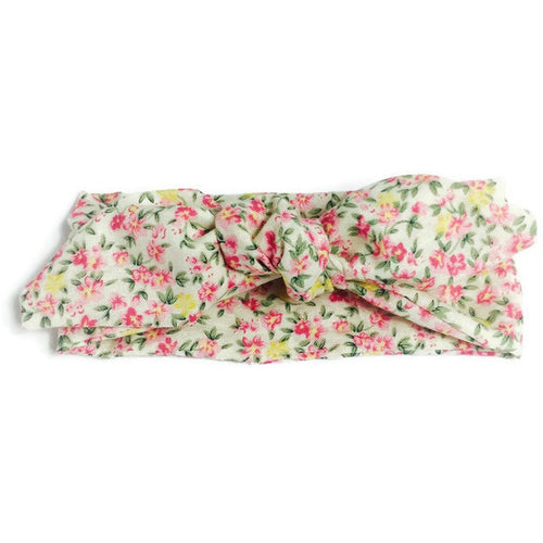 Girls top knot bow headband - petite flower