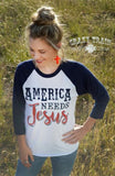 America Needs Jesus Raglan Baseball Tee - Pockets and Pearls®
