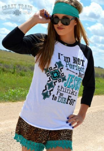 Jesus Thinks I'm to Die For Raglan Baseball Tee - Pockets and Pearls®
