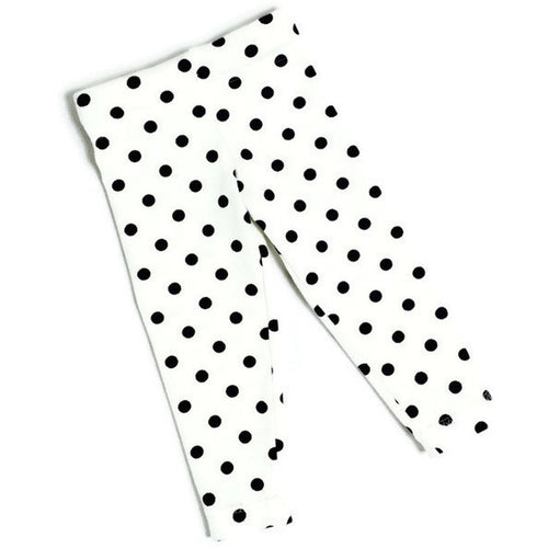 Girls white with black dots leggings - Size Newborn - 3 years