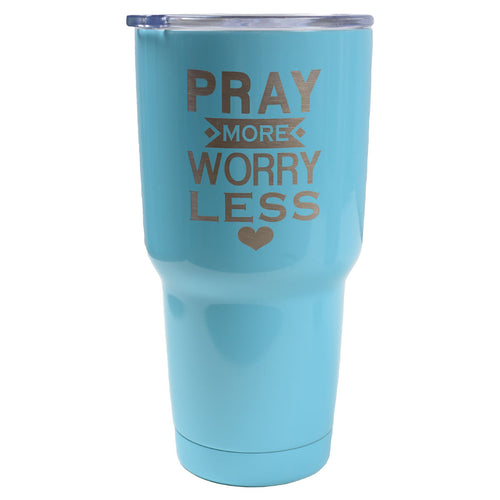 30 oz Dual Wall SS Mug - Pray More Worry Less