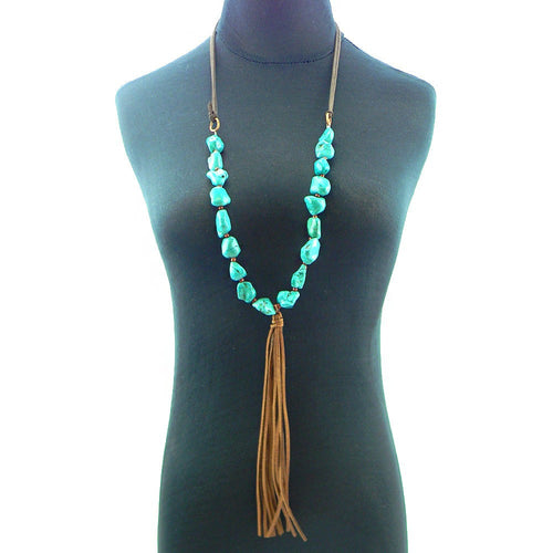 Turquoise Fringe Necklace - Pockets and Pearls®