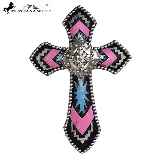 Montana West Aztec Pink Resin Wall Cross - Pockets and Pearls®